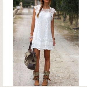 Dresses & Skirts - Boho Sleeveless White Lace Mini Beach Dress NWT